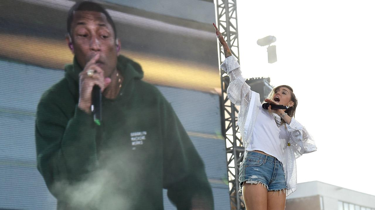 Miley Cyrus and Pharrell Williams Team Up for Surprise One Love Manchester Duet, Address Crowd in Emotional Speeches