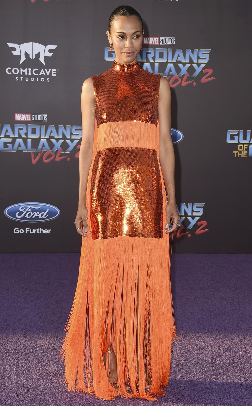 Zoë Saldana Is a Fashion Hero in Sequins and Fringe at Guardians of the Galaxy Premiere