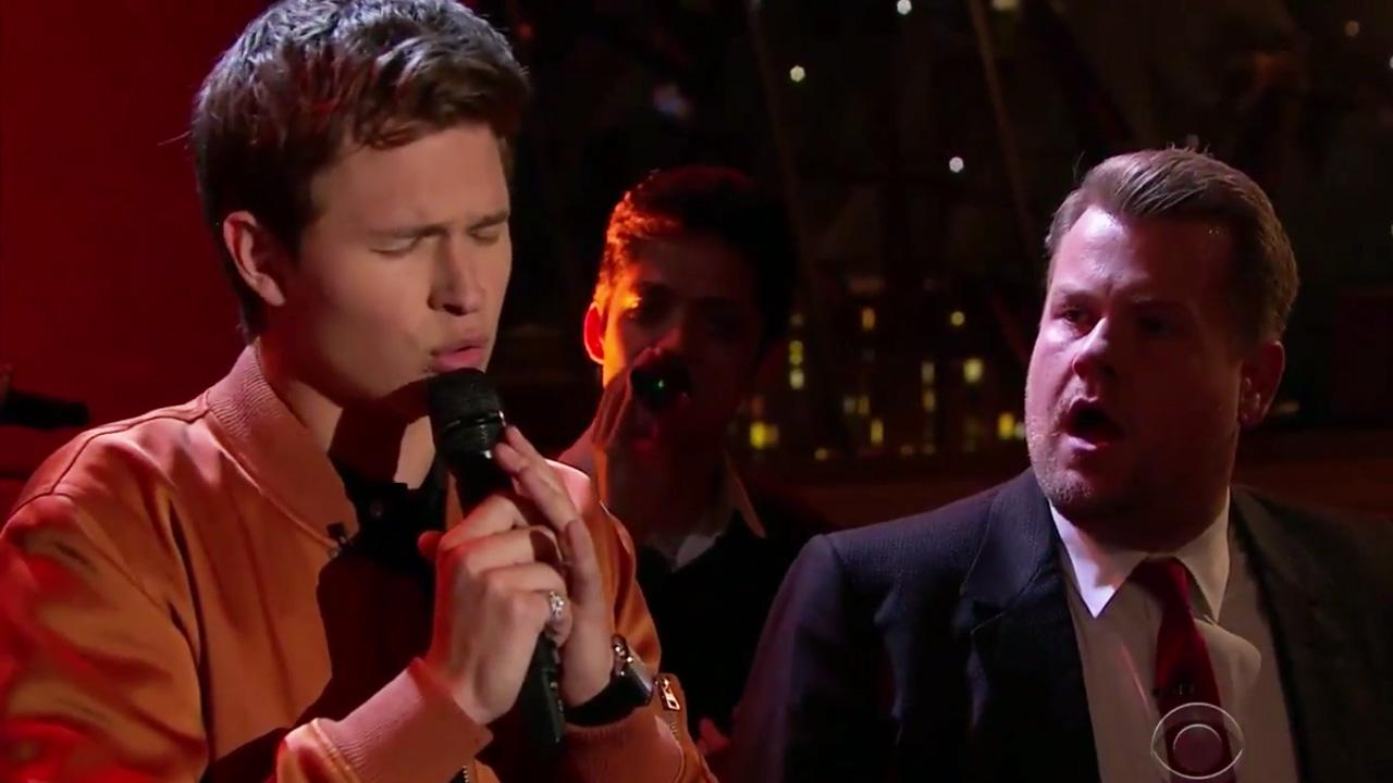 Watch Ansel Elgort Bring the House Down Singing Lionel Richie in Riff-Off With Jamie Foxx and James Corden!