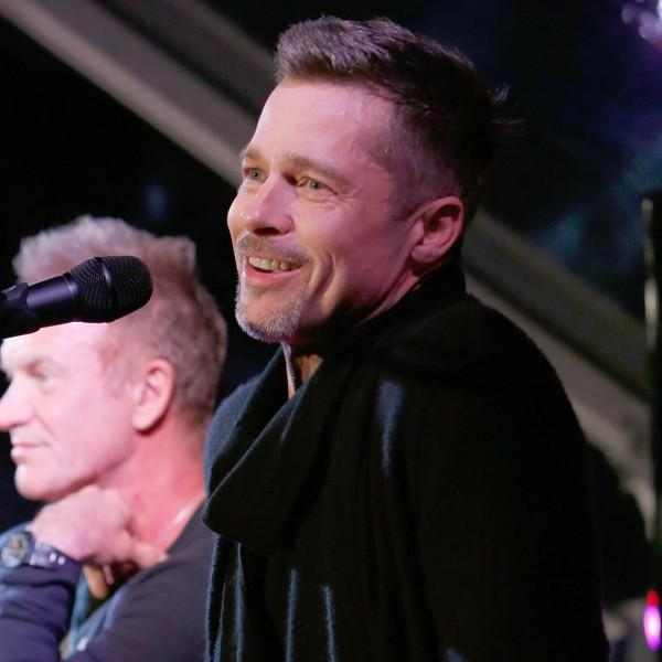 Brad Pitt Is All Smiles at Rare Post-Split Appearance at Celebrity Charity and Rock Event