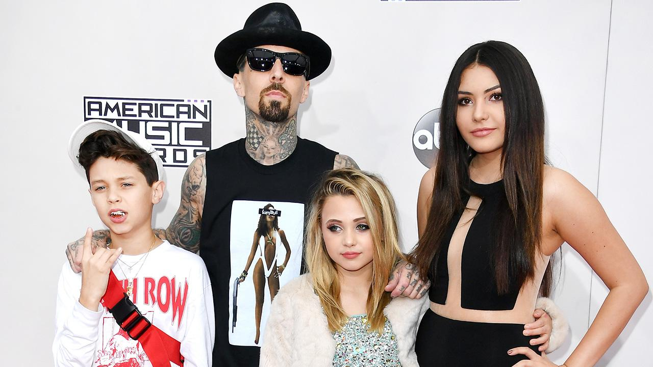 Exclusive: Travis Barker Brings His Adorable Kids to the AMAs: 'This Is My Support Group'
