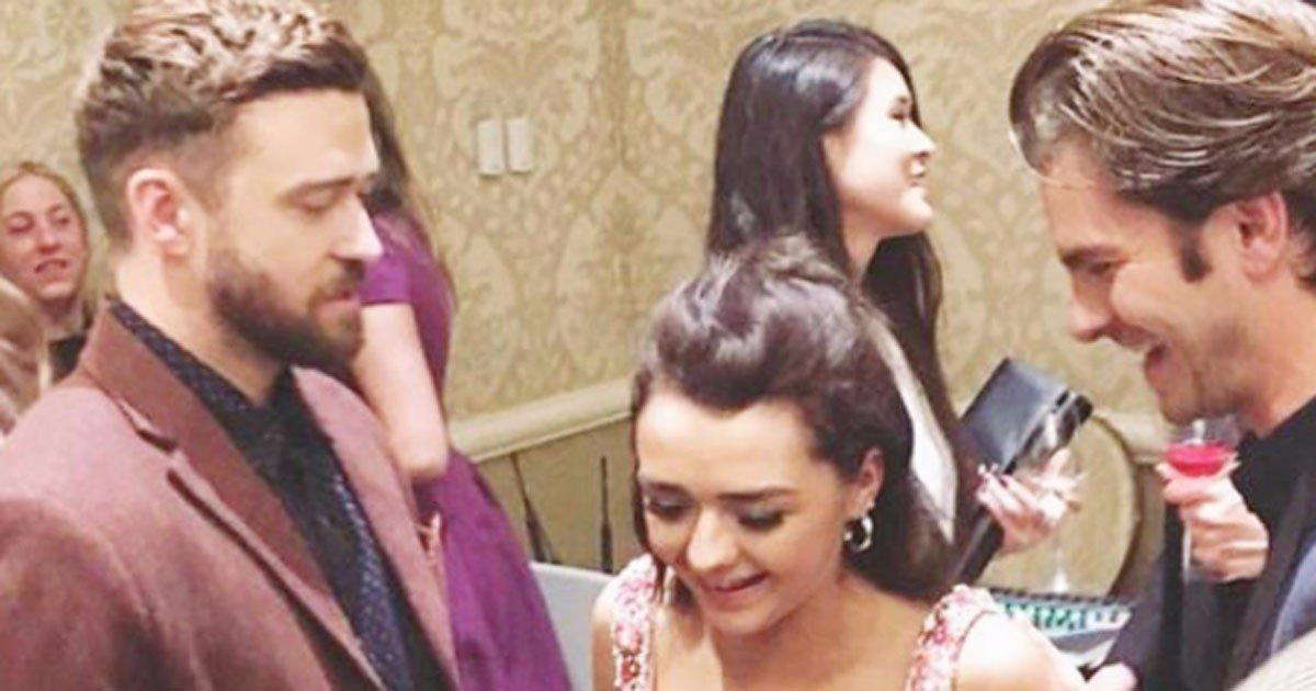 Maisie Williams Gets Caught in a 'Handsome Sandwich' With Justin Timberlake and Andrew Garfield