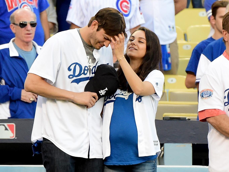 Mila Kunis and Ashton Kutcher Enjoy a Date Night Cheering on the Dodgers