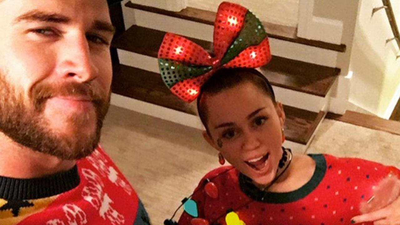 Miley Cyrus and Liam Hemsworth Rock Ugly Christmas Sweaters For Holiday Party With Chris Hemsworth and Elsa Pataky