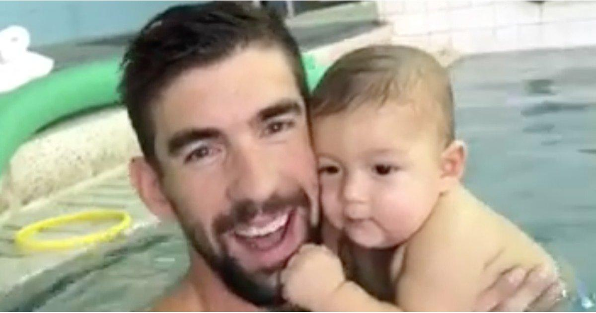 You Are Not Ready For the Cuteness That Is Boomer Phelps Getting a Swimming Lesson With His Dad