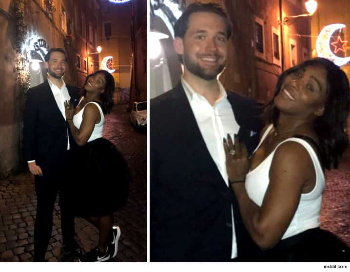 Serena Williams Shows Off Huge Diamond Ring During Date Night With Fianc  '  Alexis Ohanian