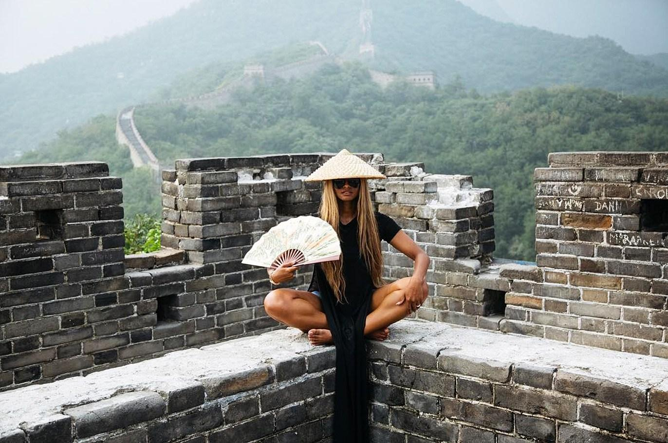 Baby       's First Slide! See Ciara Ride Down the Great Wall of China with 3-Month-Old Daughter Strapped to Her    Chest