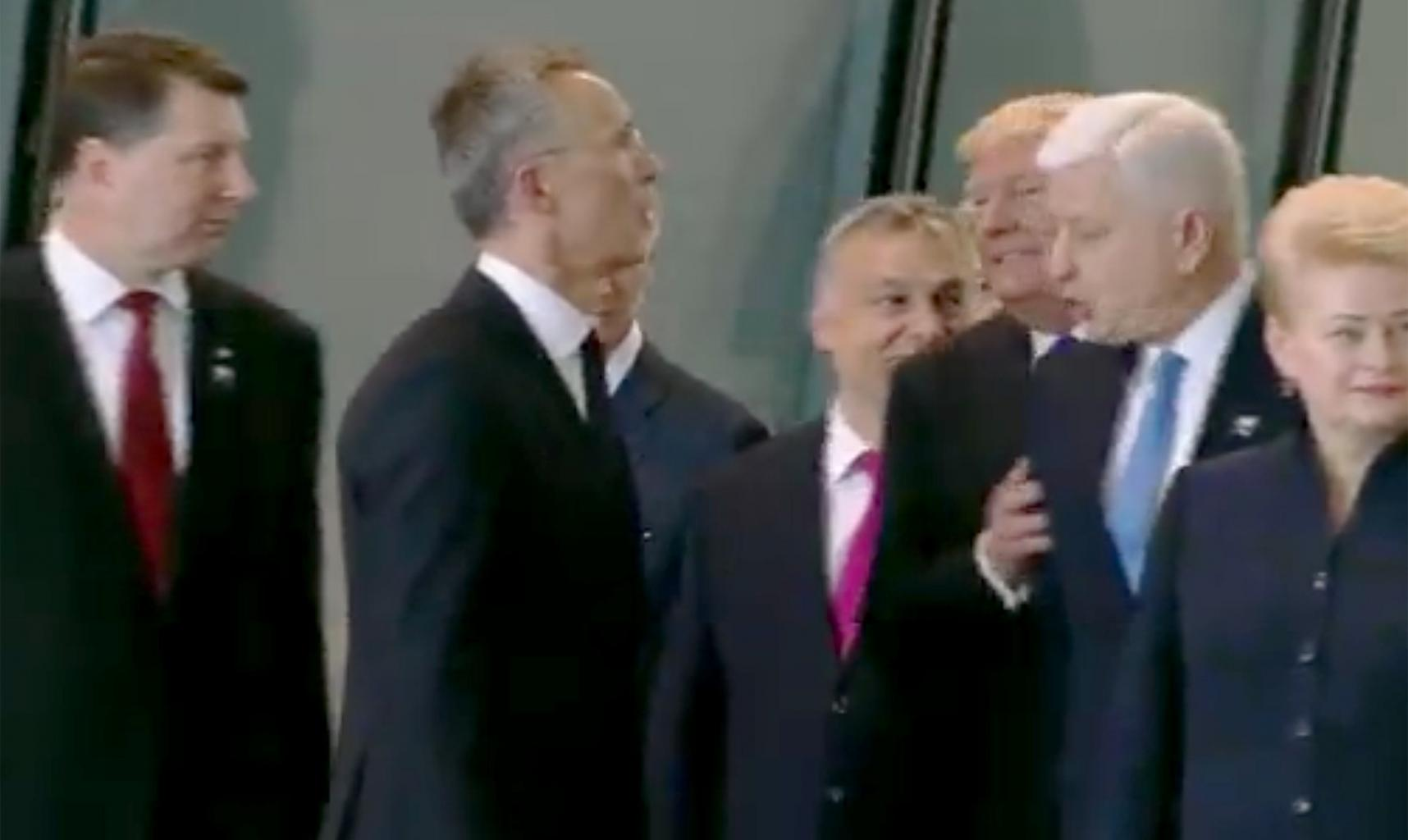 Did President Trump Push a Nato Leader Out of His Way to Be in Front of the Group?
