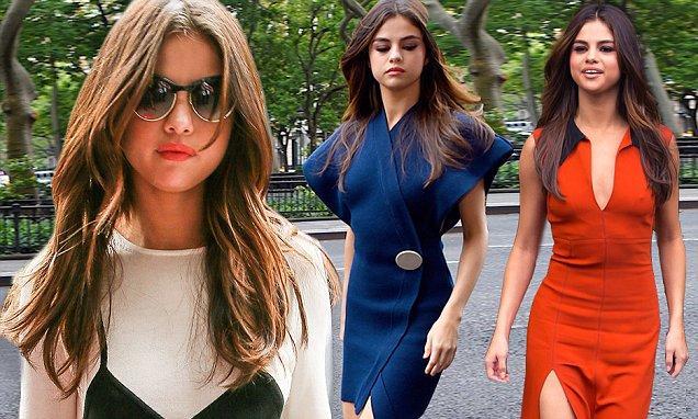 Selena Gomez shows off her trim figure in wrap dress