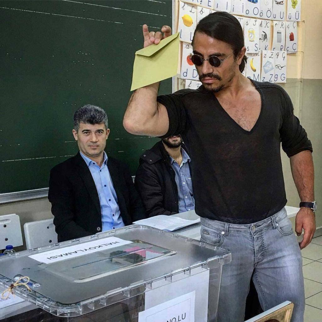 #SaltBae Votes in Turkish Referendum in His Signature Style
