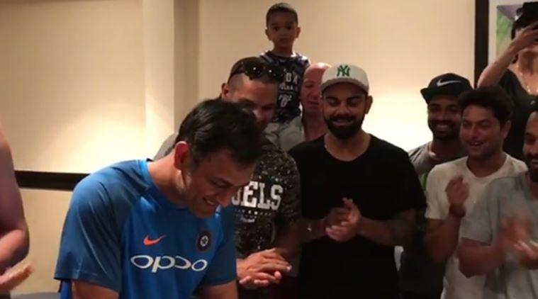 MS Dhoni celebrates birthday with teammates, family; watch video