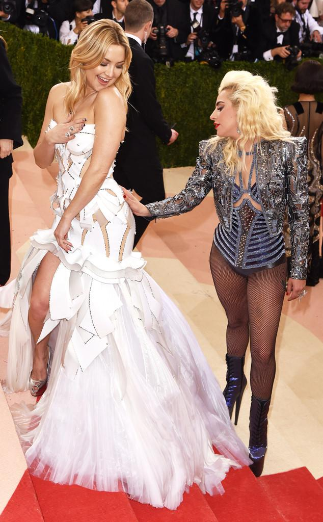 Kate Hudson and Lady Gaga Get Grabby on the Met Gala 2016 Red Carpet: See More Candid Moments!