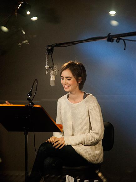Behind the Scenes with Lily Collins During Her Peter Pan Audiobook Recording Session