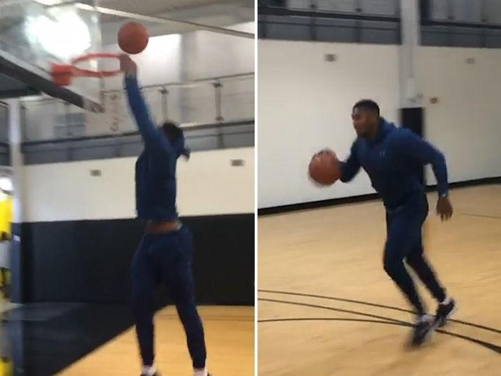 Boxing Champ Anthony Joshua Sucks at Dunking Basketball (Videos)