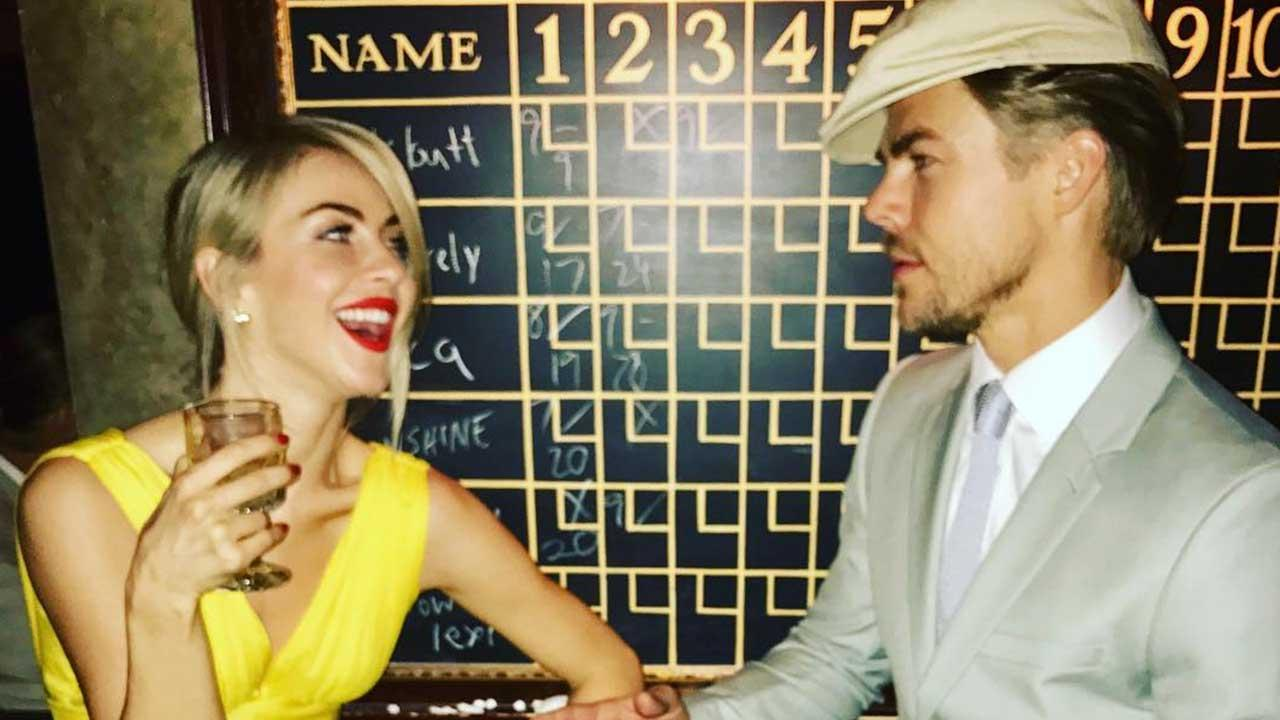 Derek and Julianne Hough Rock Amazing 'La La Land' Outfits at Nina Dobrev's Bowling Alley Birthday Bash