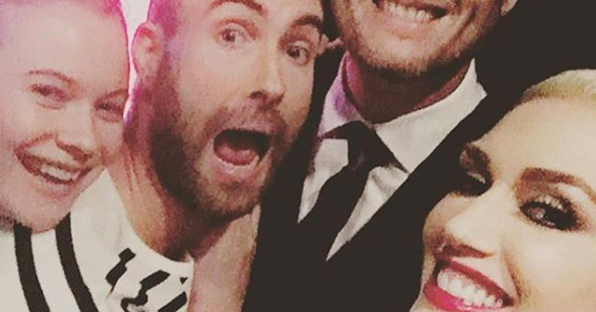 Gwen Stefani and Blake Shelton Snap the Ultimate Selfie With Adam Levine and Behati Prinsloo