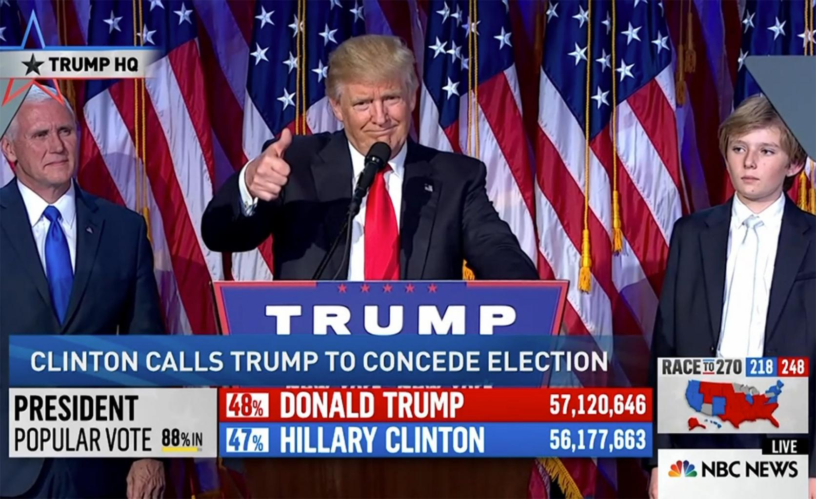He  's Hired! Donald Trump Is Elected 45th President of the United States in Stunning Upset