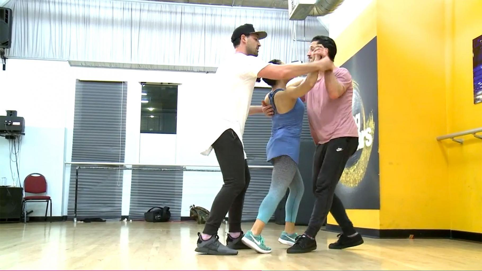It's a Chmerkovskiy Sandwich! Laurie Hernandez Rehearses with Val and Maks on Dancing with the Stars