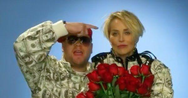 James Corden and Sharon Stone Film a Rap Video to Help Her Score a Quality Date
