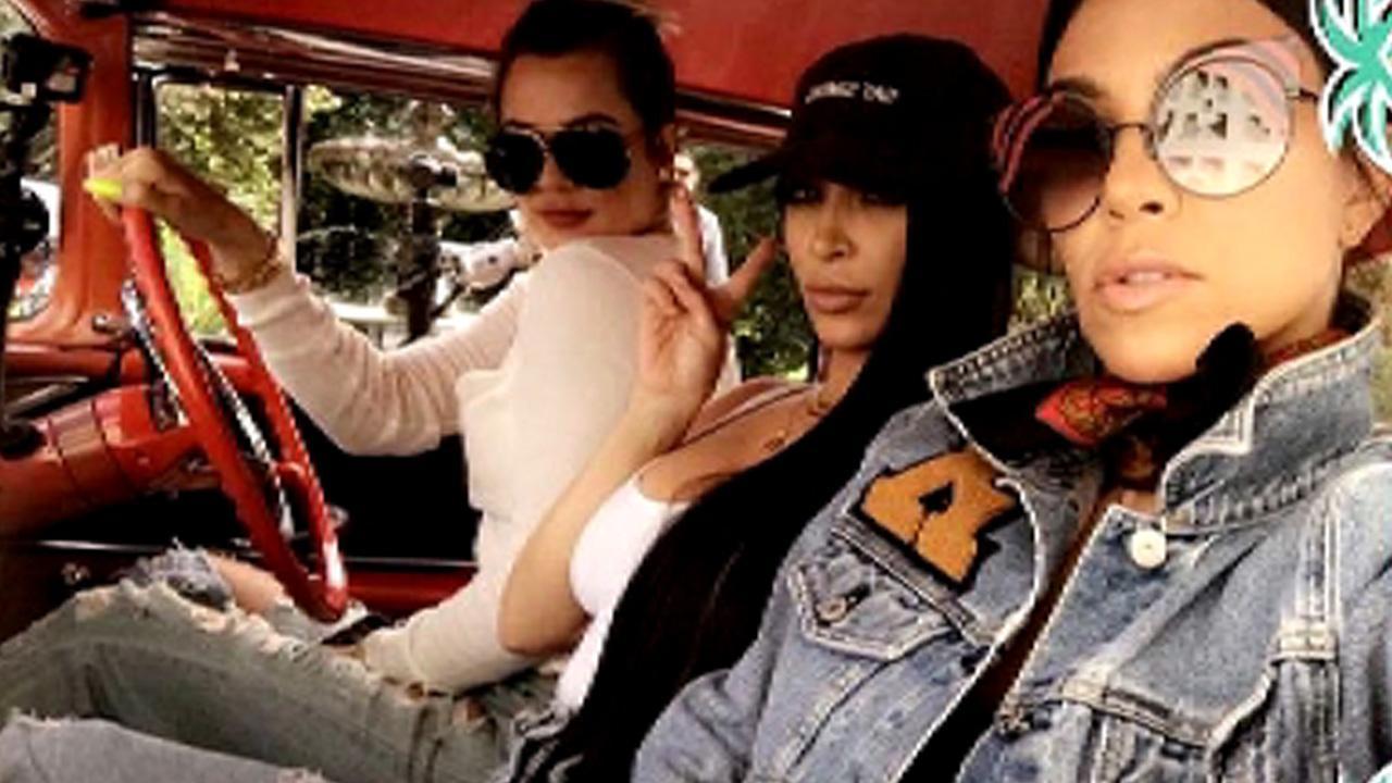 Kim, Kourtney, and Khloe Kardashian Visit Palm Springs in Vintage Car, Go Wild on Social Media
