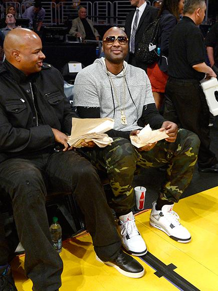 Lamar Odom Attends Los Angeles Lakers Game to Support Former