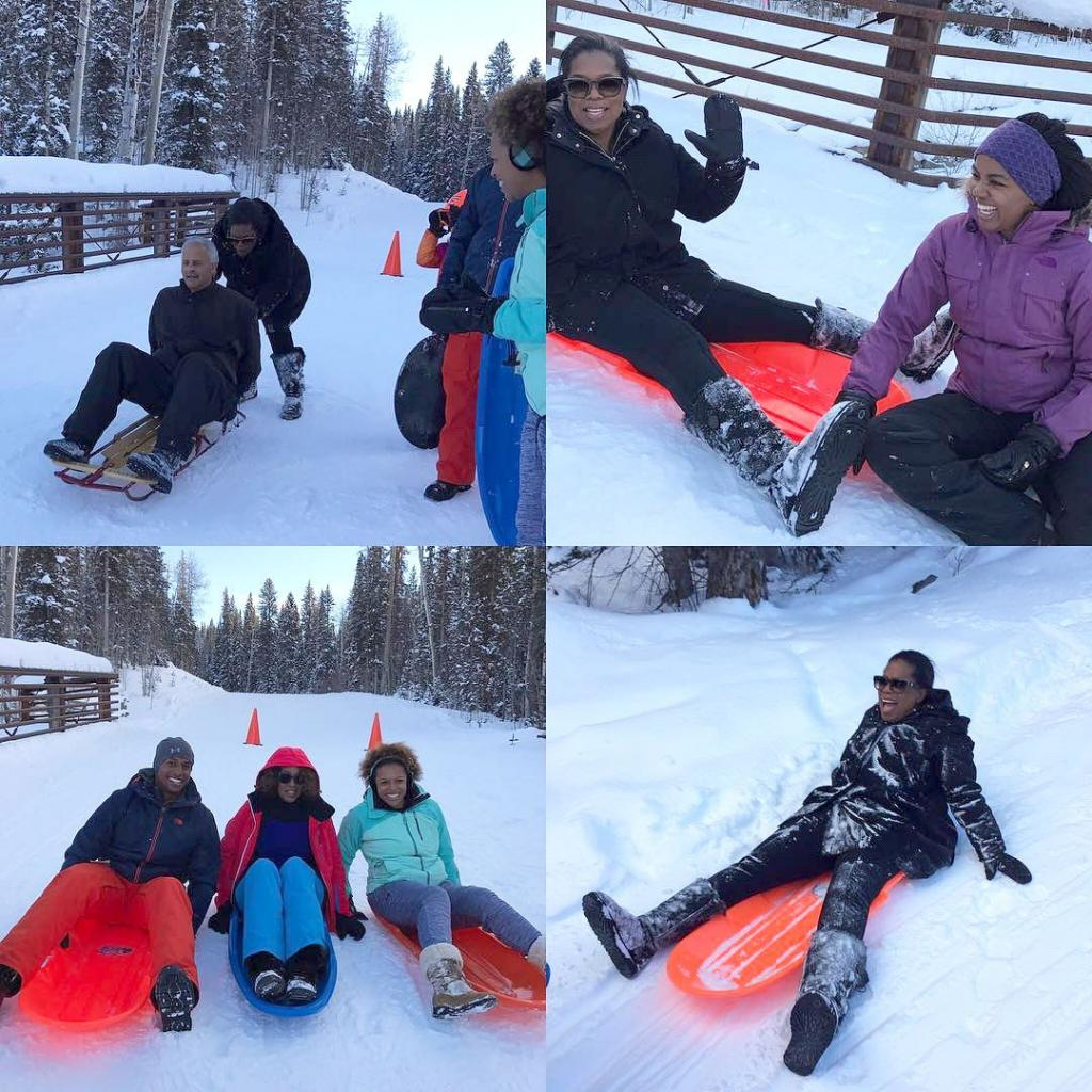 Oprah Sleighs the Slopes    with Stedman Graham and Gayle King on Christmas Eve