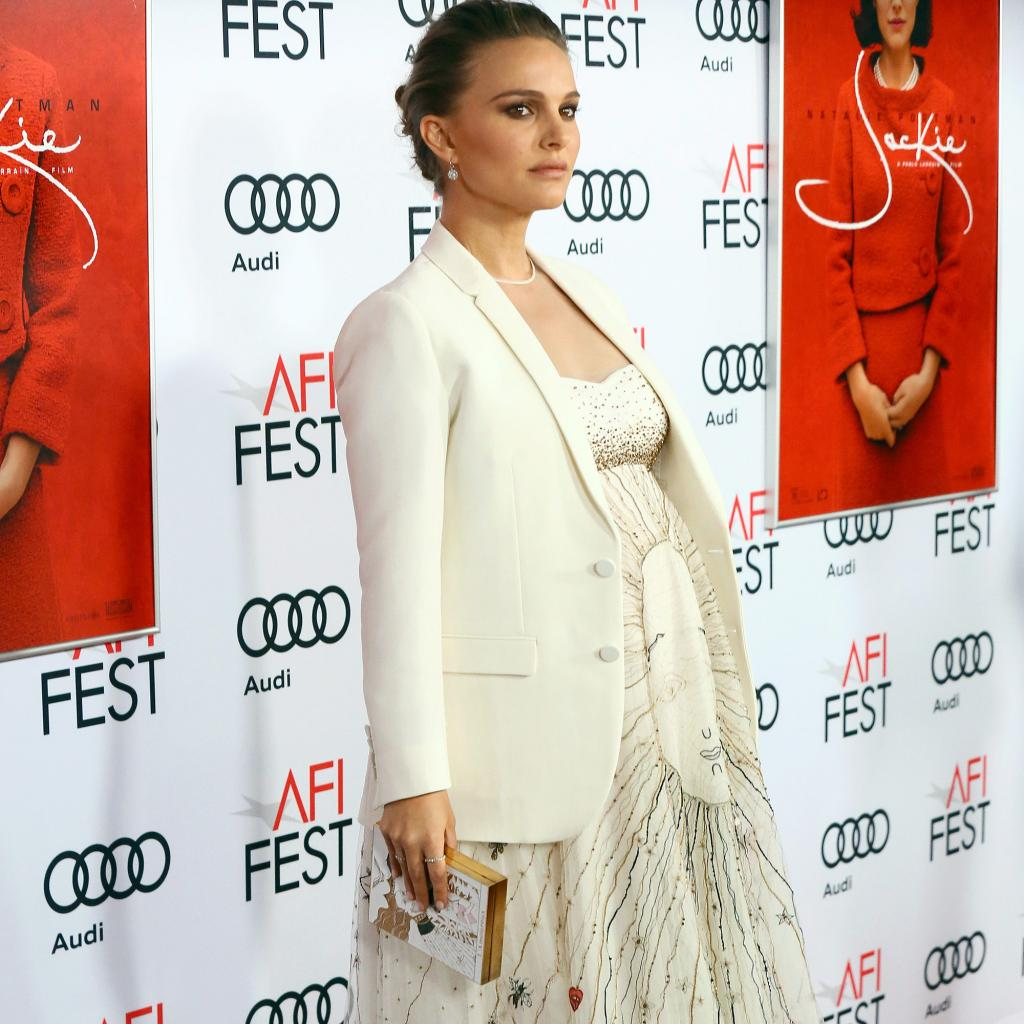 Pregnant Natalie Portman Glows in Christian Dior at AFI Fest Premiere of Jackie