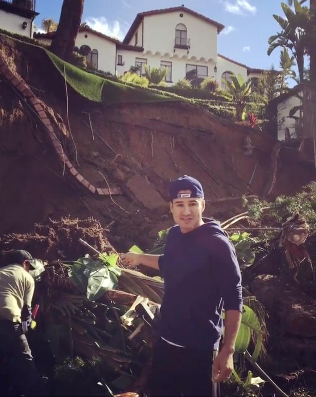 Thank God My Kids Weren       't Playing in the Yard       ': Mario Lopez       's Backyard Destroyed After Rainstorm