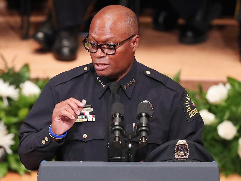 Watch: Emotional Dallas Police Chief Quotes Stevie Wonder Lyrics at Memorial for His Five Slain Officers