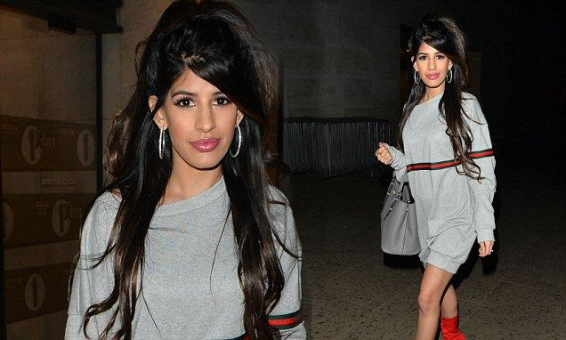 Jasmin Walia steps out in thigh skimming dress and sexy scarlet boots