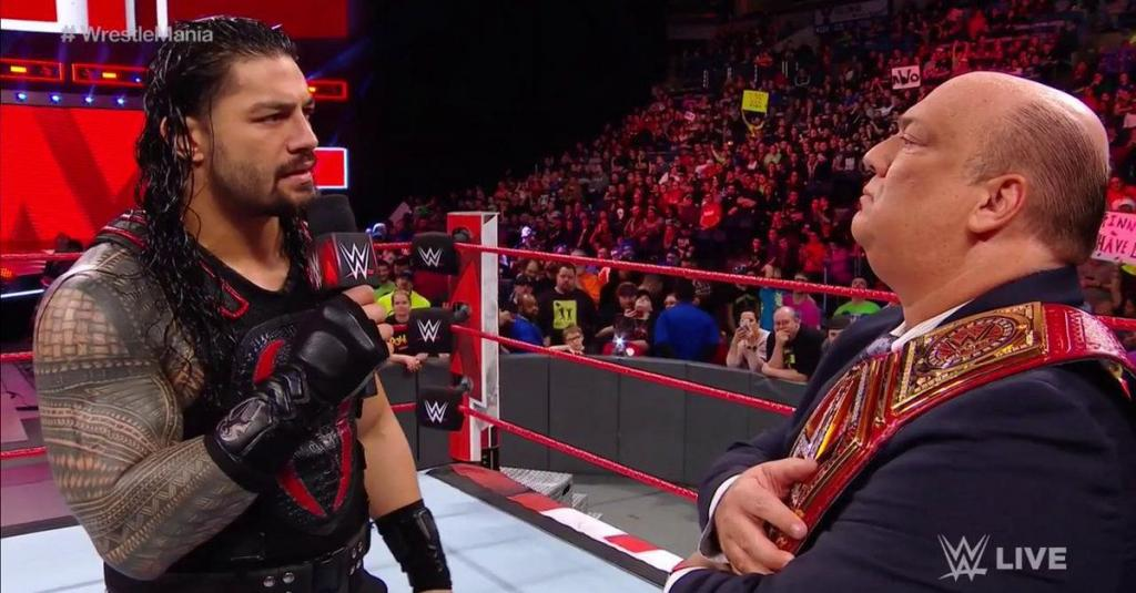 With Brock Lesnar at home Paul Heyman Roman Reigns battle on the mic to close Raw