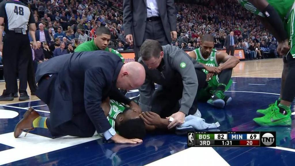Boston Celtics Jaylen Brown takes scary fall walks off under own power