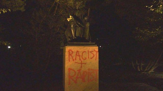 Jefferson Statue on UVA Lawn Vandalized