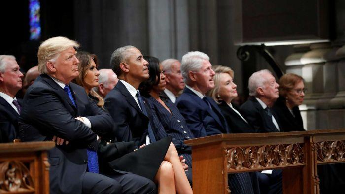 There were some awkward moments at George HW Bushs funeral