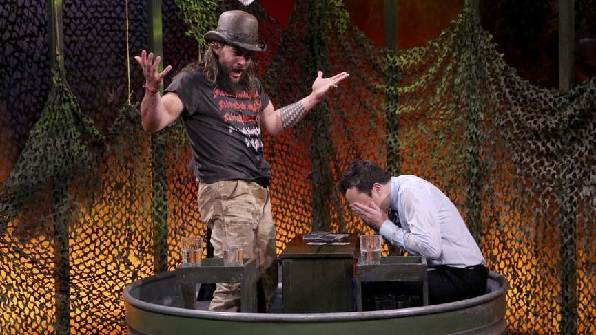 Jason Momoa Gets Really Really Into Beating Jimmy Fallon at Party Games