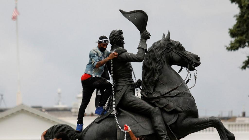 Protesters In D.C. Trying To Tear Down Andrew Jackson Statue