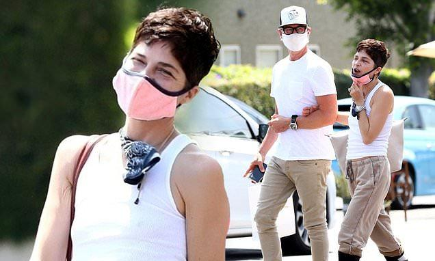 Selma Blair oozes casual style as she dons sweatpants and a face mask