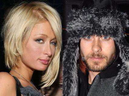 Paris Hilton, Jared Leto. Paris just walked in and sat down