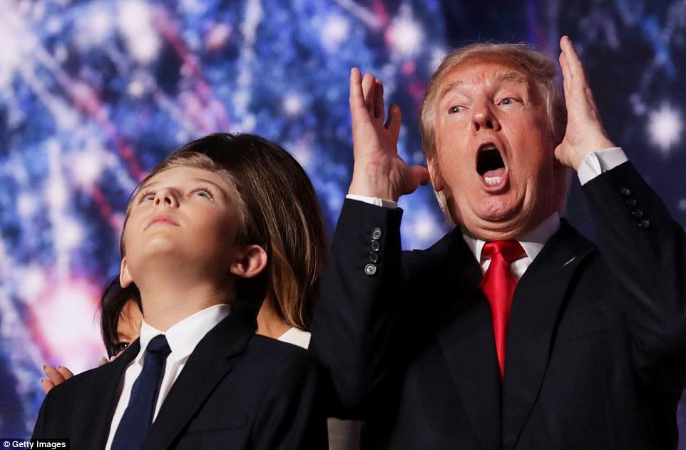 Donald Trump's Son Barron Supports Him At His RNC Speech   Daily