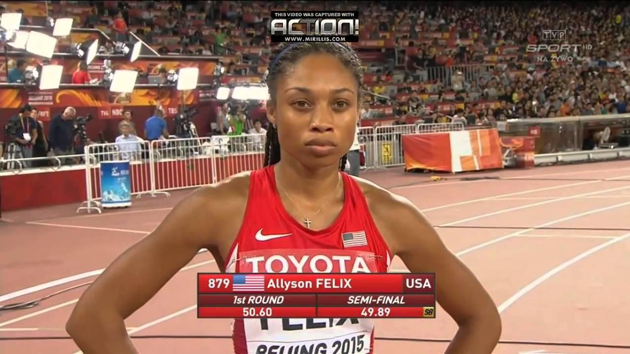 Allyson Felix Wins Women 400m Beijing 2015 - YouTube