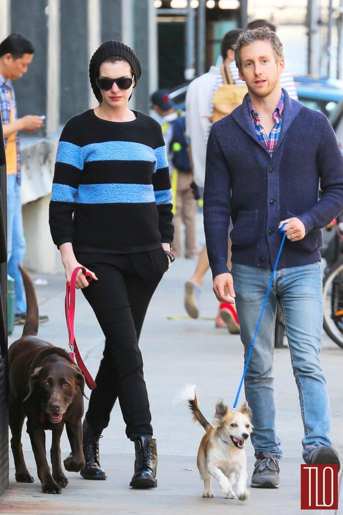 Anne Hathaway And Adam Shulman Out And About In NYC   Tom + Lorenzo
