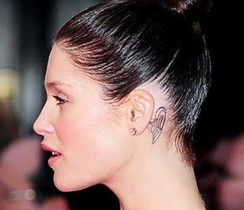 Gemma Arterton Behind Ear Tattoo Design   Tattoo Designs   We
