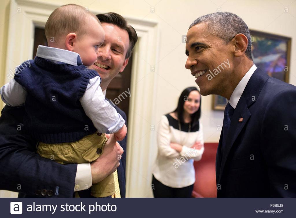 President Barack Obama Greets Press Secretary Josh Earnest And His