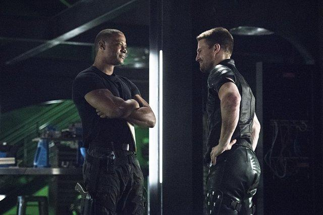 Still of David Ramsey and Stephen Amell in Arrow (2012)