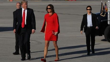 Melania Trump Arrives Solo To Air Base As First Couple Heads To