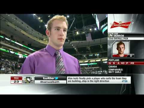 Penguins Draft Joseph Morrow #23 Overall - YouTube