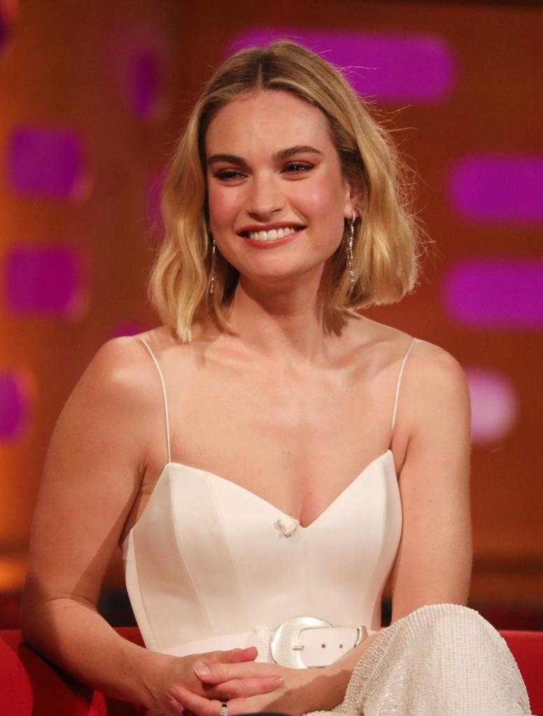 Lily James During the filming for the Graham Norton Show